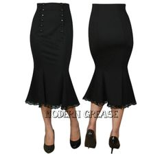 a36ebe7914c Modern Grease Clothing and Accessories Co. - Double Button Black High Waist  Skirt, $39.99