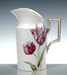 Creamer, Flower painting 'tulips', coloured, lim., num., gold rim, H 12,5 cm