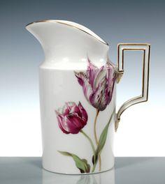 Creamer, Flower painting 'tulips', coloured, lim., num., gold rim, H 12,5 cm