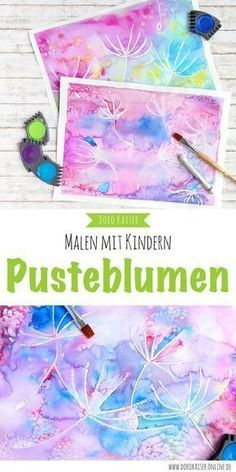 Malen mit Kindern: wunderbare Pusteblumen mit Wasserfarben malen Painting with children – an idea for the summer: paint dandelions with watercolors and crayons.