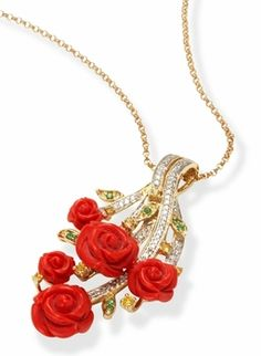 Carved Coral Roses in a Floral Bouquet Pendant and Necklace - 18k Gold
