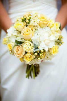 Pretty Bridal Bouquet: White Hydrangea, White Gardenias, White Hypericum, Ivory Stock, Yellow Roses + Dusty Miller