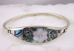 Alpaca Silver Bangle Bracelet Abalone Shell Flower Fashion Jewelry NEW Handmade #TesorosHandmade #bangle