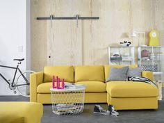 IKEA UK: Meet VIMLE - Our modular sofa that's bursting with personality! With sections for seating, sleeping . Living Room Table Sets, Ikea Living Room, Living Room Furniture, Ikea Vimle Sofa, Ikea Bank, Modul Sofa, Yellow Couch, Elegant Living Room, Affordable Furniture