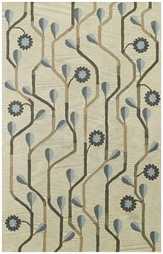 Daisy Climber Vine Rug in Multi Blue -- a hand tufted rug in full bloom. #contemporary #blue
