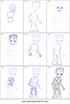 How to Draw Baby Groot step by step printable drawing sheet to print. Learn How to Draw Baby Groot Avengers Drawings, Drawing Superheroes, Drawing Cartoon Characters, Character Drawing, Cartoon Drawings, Art Drawings Sketches, Disney Drawings, Cute Drawings, Baby Groot Drawing