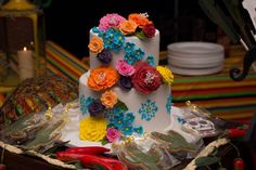Stunning cake at a Mexican fiesta cocktail party! See more party planning ideas at CatchMyParty.com!