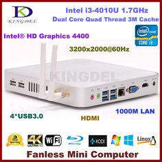 Barebone PC Mini Desktop Computer Intel i3-4010U Dual Core Quad Threads CPU Wifi HDMI USB 3.0 VGA Windows 7 Full metal case
