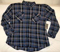 New DICKIES Brawny Blue Black Plaid Heavy Flannel Work SHIRT 3XL Lumberjack #Dickies #ButtonFront