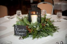 Table Number & Decor | Lauren & Joe's Christmas Wedding | Photo: Tina Jay Photography