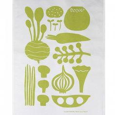 Hand printed kitchen linens, inspired by 60s and 70s Finnish textiles.  Designed by illustrator Matti Pikkujämsä