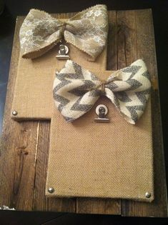 Here is something different to hang your beloved family pictures on...a Burlap Covered Canvas, along with a pretty bow and some twine...
