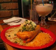 The ultimate Mexican dish: Chimichanga extra Guacomole + refried beans & rice + Jumbo Margarita (Sagebrush Cantina Lake Orion, MI USA)