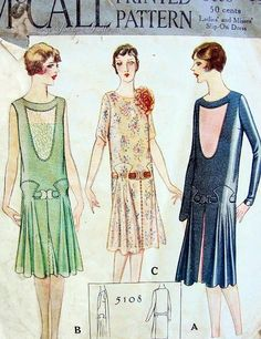 1920s Great Gatsby Fler Dress Pattern Beautiful Drop Waist Design 3 Unique Styles Mccall 5108 Bust