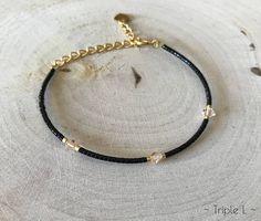 Bracelet ajustable en perles Miyuki noires et dorées et perles