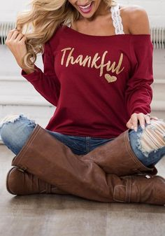 Wine Red Monogram Print One Shoulder Long Sleeve T-Shirt Trendy Outfits, Fall Outfits, Cute Outfits, Fall Shirts, Cute Shirts, Vinyl Shirts, Monogram Shirts, Lace Camisole, Thanksgiving Outfit