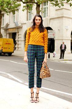 Street Style: Mustard knit and tartan trousers in London