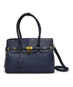 Look at this Navy Pebbled Satchel on #zulily today!
