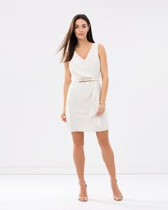 V-Neck Frill Crepe Dress by Oasis Online | THE ICONIC | Australia