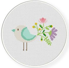 Flower Birds PDF Cross Stitch Pattern Needlecraft - Instant Download - Modern Chart