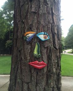 Picasso Tree Face Original Garden Art Yard or Fence by tlgpottery