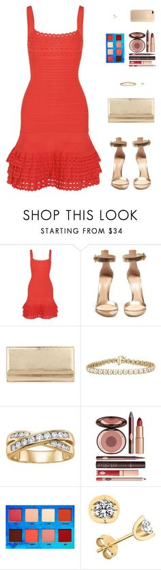 """""""Sin título #4752"""" by mdmsb on Polyvore featuring moda, Hervé Léger, Gianvito Rossi, Jimmy Choo, Charlotte Tilbury y Lime Crime"""