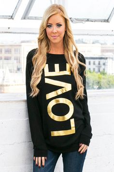 Black and Gold Blingin' Love Top - Forever Fab Boutique Valentine's Day Outfit Love Top Love Sweatshirt OOTD Outfit Inspiration Winter Fashion #shop #fashion