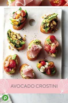 These delicious toasted creations give any Mother's Day a touch of gourmet. Publix Aprons® Avocado Crostini are an easy way to make her day feel special. keto food list for ketogenic diet Vegan Appetizers, Appetizer Recipes, Vegetarian Canapes, Individual Appetizers, Greek Appetizers, Canapes Recipes, Wedding Appetizers, Clean Eating Snacks, Healthy Snacks