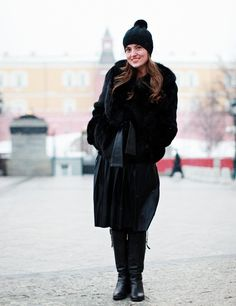 Moscow Fashion Week Street Style. Blackout moment at it's finest. Cue AC/DC like right now.