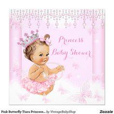 Pink Butterfly Tiara Princess Baby Shower Brunette Invitation