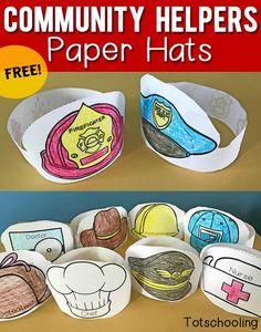 Community Helper paper hats for police, nurse, fireman Preschool Classroom, Kindergarten Activities, Preschool Activities, Space Activities, Fireman Crafts, Community Helpers Activities, Nurse Crafts, Paper Hats, Community Workers