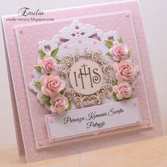 Words For Sympathy Card, First Communion Cards, Diy And Crafts, Paper Crafts, Shabby Chic Cards, Marianne Design, Handmade Decorations, Baby Cards, Cute Cards
