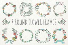 8 round flower frames by redchocolate on Creative Market