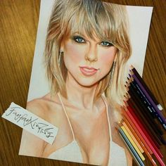 Taylor Swift, owner of 8 trophies of the Billboard Music Awards 2015.  Colored pencil on B4 paper. May 21, 2015.  #taylorswift