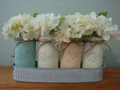 Ball Vase Set, 17 Additional Color Options, 4 Pint & Half Size Jars, Galvanized Tray, Cottage Decor, Spring Centerpiece, Shower Gift by ItWorks4Me on Etsy