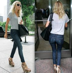 tucked in t shirt makes this jeans and tee outfit classy and stylish
