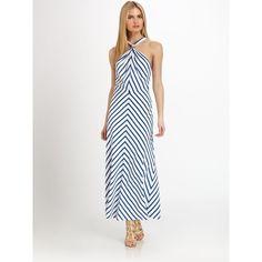 Ralph Lauren Black Label Silk Chevron Stripe Juliet Dress ($1,798) ❤ liked on Polyvore