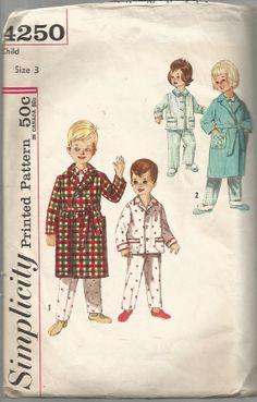 Child's Robe Pajamas Pattern Boys GIrls Long PJs Size by SelmaLee