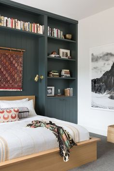 Kitchen Interior Design Create a cool headboard to keep all your bedtime reading more organized. For more organizational tips for taming the clutter, click through. Interior Design Kitchen, Modern Interior Design, Home Bedroom, Bedroom Decor, Bedroom Ideas, Bedroom Modern, Bed Ideas, Bedroom Designs, 1920s Bedroom