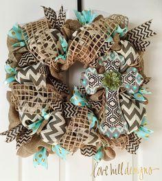 Beautiful Square Burlap Cross Wreath. #lovehilldesigns