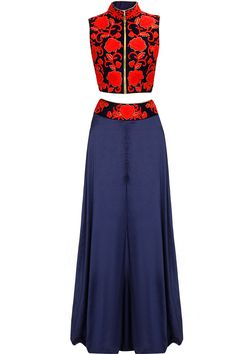 Black and red embroidered jacket with navy divided skirt available only at Pernia's Pop-Up Shop.