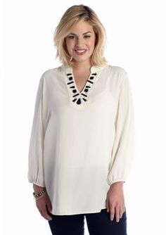 New Directions  Plus Size Embellished Neckline Top