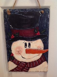 Hand painted Snowman on Slate by behindblueeyesart1 on Etsy