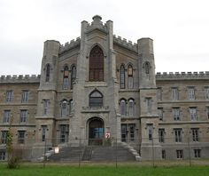 NYS Inebriate Asylum -Gothic Revival structure sits on a hill overlooking Binghamton. Founded by J. E. Turner in 1854, construction began in 1858, completed in 1864. It was the first institution designed to treat alcoholism as a mental disorder. It has dual staircases, stained glass windows & a chapel. In 1879 converted to an Asylum for Chronic Insane. Later known as Binghamton State Hospital & Psychiatric Center. Deterioration of the building facade forced its closure in 1993.