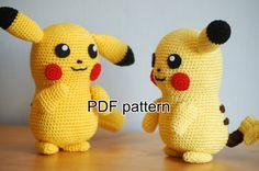 With this pattern you can make your own Pokemon. The plush will be about 14 cm tall.  In the pattern the following stitches are used: magic ring single crochet slipstitch chain turning chain  You will need the following materials: Crochet needle (2,5 mm) Yellow yarn (for instance Lana Grossa Cotone 16) Black yarn (for instance Phil Coton 3 - Noir 67) Brown yarn (for instance Phil Coton 3 - Ebene 47) Red yarn (for instance Phil Coton 3 - Cerise 50) Fiber fill Iron wire Black and white felt…