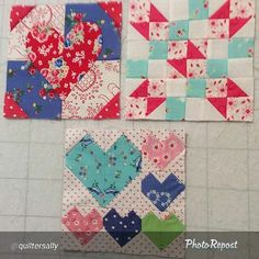 """Hey @quiltersally these are aome super cute blocks! By @quiltersally """"Three down. Boy I hope the next few don't have 48 pieces. @The Splendid Sampler I'm using @pamkittymorning fabric."""" via @PhotoRepost_app"""