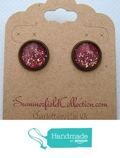 "Antiqued Bronze-Tone Glitter Glass Galaxy Stud Earrings 1/2"" Round Plum Berry Purple from Summerfield Collection http://www.amazon.com/dp/B019CXMP30/ref=hnd_sw_r_pi_dp_CpcDwb0J2XJQZ #handmadeatamazon"