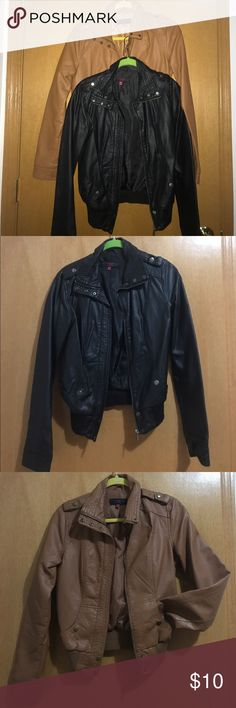 Pleather jackets One black pleather jacket and one cognac pleather jacket. Worn a few times but in great condition. neu look Jackets & Coats