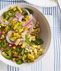 Charred Corn Salad with Mint, Parsley and Cilantro