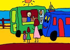 'Bobby Bus at the Seaside' written & illustrated by Simon Bramble. #BrambleArt